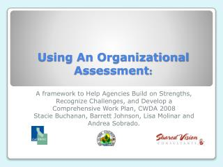 Using An Organizational Assessment: