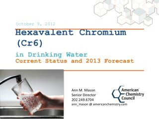 Hexavalent Chromium (Cr6) in Drinking Water