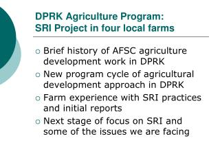 DPRK Agriculture Program: SRI Project in four local farms