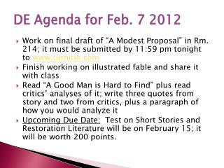 DE Agenda for Feb.  7 2012
