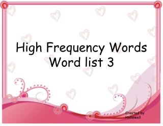 High Frequency Words Word list 3