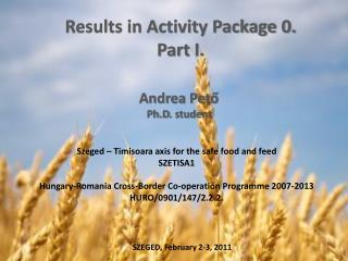 Results in Activity Package 0. Part I.