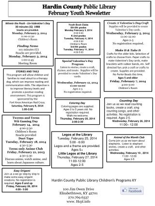 Hardin County  Public Library February Youth Newsletter