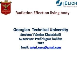 Georgian  Technical University  Student : Valerian  Khutsishvili Supervisor : Prof. Nugzar Dolidze