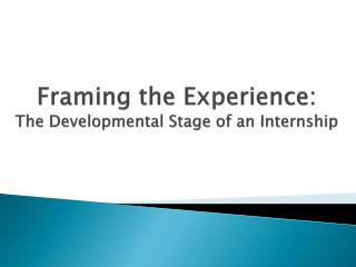 Framing the Experience: The Developmental Stage of an Internship