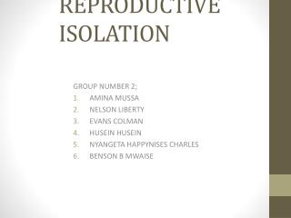 PRESENTATION ON MECHANISM FOR REPRODUCTIVE ISOLATION