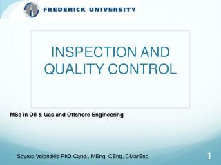 INSPECTION AND QUALITY CONTROL