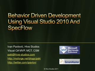 Behavior Driven Development Using Visual Studio  2010 And SpecFlow