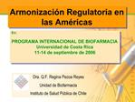 Armonizaci n Regulatoria en las Am ricas