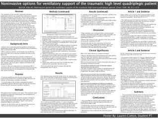 Noninvasive options for  ventilatory  support of the traumatic high level quadriplegic  patient