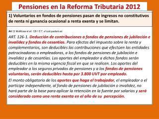 Pensiones en la Reforma Tributaria 2012