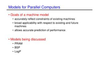 Models for Parallel Computers