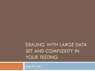 Dealing with large data set and complexity in your testing