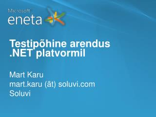 Testipõhine arendus  .NET platvormil