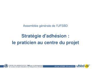 Assemblée générale de l'UFSBD Stratégie d'adhésion :  le praticien au centre du projet