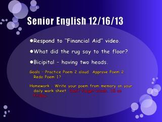 Senior English 12/16/13