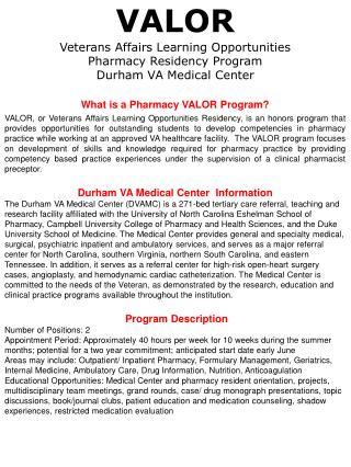 What is a Pharmacy VALOR Program?