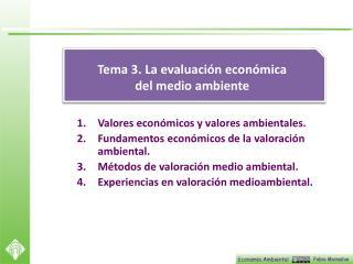 Valores económicos y valores ambientales. Fundamentos  económicos de la valoración ambiental.