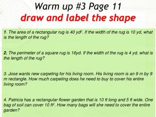 Warm up #3 Page 11 draw and  label the shape