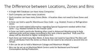 The Difference between  Locations , Zones and Bins