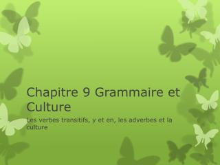 Chapitre 9 Grammaire et Culture