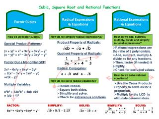 Cubic, Square Root and Rational Functions