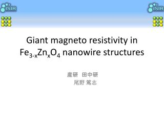 Giant magneto resistivity in  Fe 3-x Zn x O 4  nanowire structures