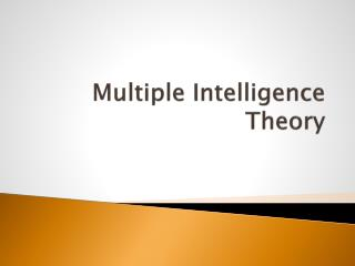 Multiple Intelligence Theory