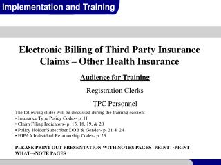 HIPAA 837 Claims Processing Electronic Billing Purpose
