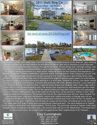 2011 Shell Ring Cir Dunes West ~ Mt Pleasant MLS# 1410539 ~ $1,685,000