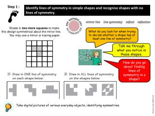 Identify lines of symmetry in simple shapes and recognise shapes with no lines of symmetry.