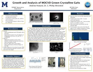 Growth and Analysis of MOCVD Grown  C rystalline GaAs