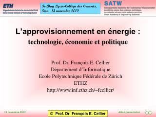 L'approvisionnement en énergie :