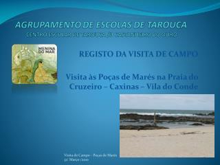 REGISTO DA VISITA DE CAMPO Visita às Poças de Marés na Praia do Cruzeiro – Caxinas – Vila do Conde