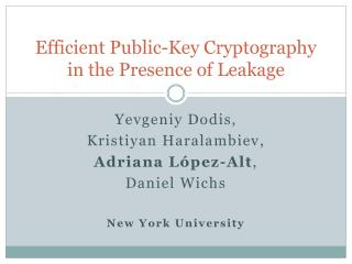 Efficient Public-Key Cryptography in the Presence of Leakage