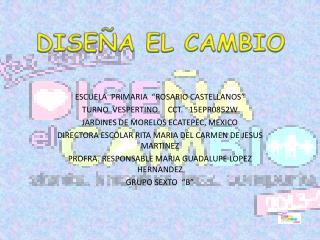 """ESCUELA  PRIMARIA  """"ROSARIO CASTELLANOS"""" TURNO  VESPERTINO     CCT.   15EPR0852W"""