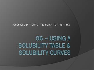 06 – using a solubility TABLE & SOLUBILITY CURVES