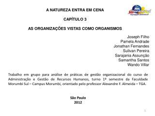 A NATUREZA ENTRA EM CENA CAPÍTULO 3 AS ORGANIZAÇÕES VISTAS COMO ORGANISMOS