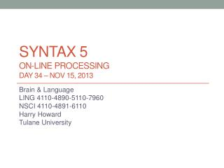 syntax  5 On-line processing DAY 34 –  nov  15, 2013