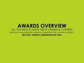 AWARDS OVERVIEW ALL YOU NEED TO KNOW ABOUT AWARDS  CONTESTS