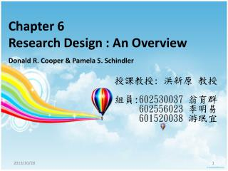 Chapter 6 Research Design : An Overview