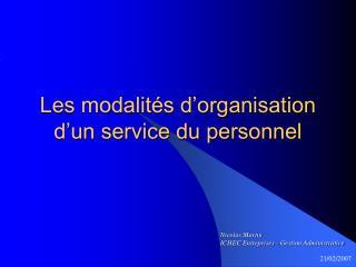 Les modalit s d organisation d un service du personnel