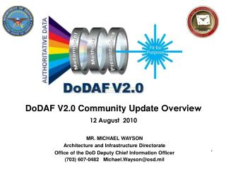 DoDAF V2.0 Community Update  Overview 12 August  2010