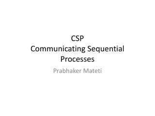 CSP Communicating Sequential Processes