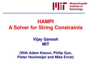 HAMPI A Solver for String Constraints