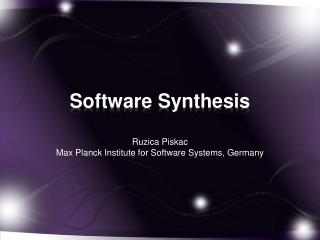 Software  Synthesis