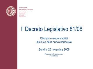 Il Decreto Legislativo 81