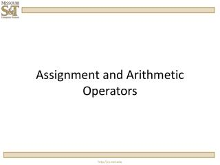 Assignment and Arithmetic Operators