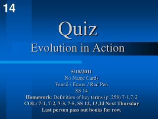 Quiz Evolution in Action