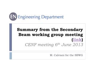 Summary from the Secondary Beam working group  meeting ( link ) CENF meeting 6 th  June 2013